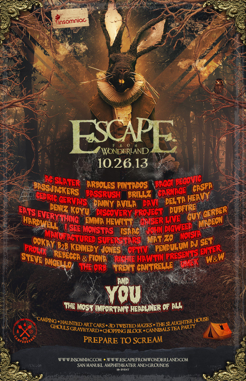 escape from wonderland lineup released your edm