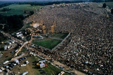 Woodstock 1969 arial view. Photo credit: Barry Z Levine