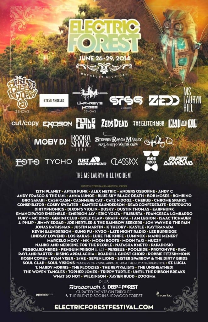 Electric Forest 2014 Line Up