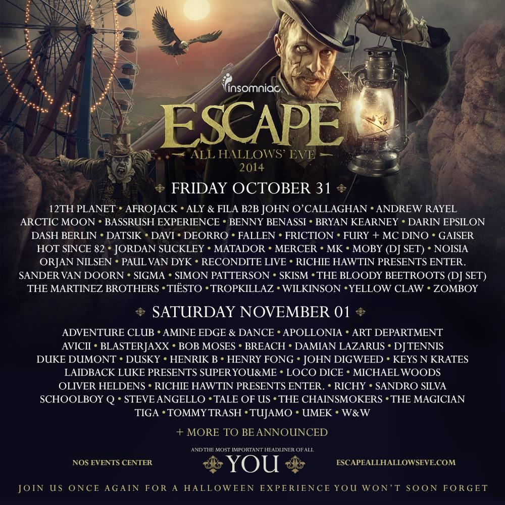 escape full lineup