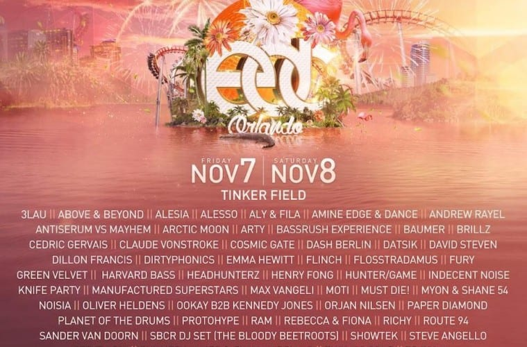 Multiple Sizes ELECTRIC DAISY CARNIVAL EDC ORLANDO 2015 Poster Concert Lineup