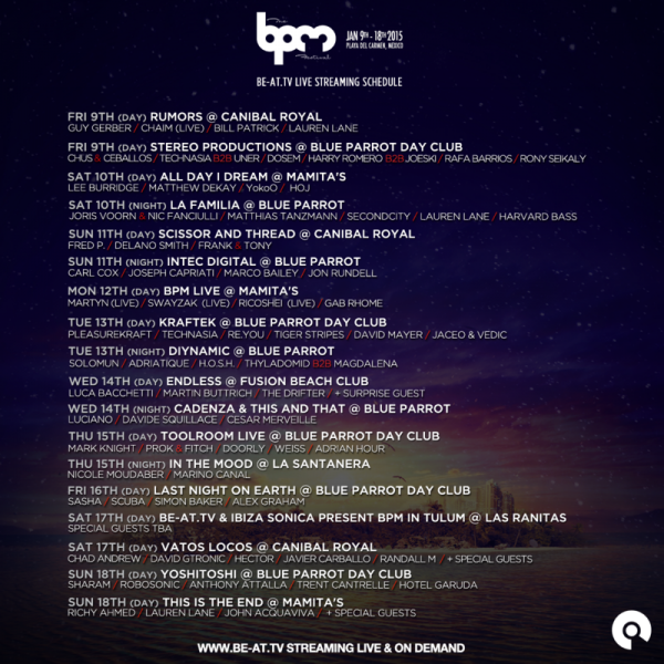 bpm schedule