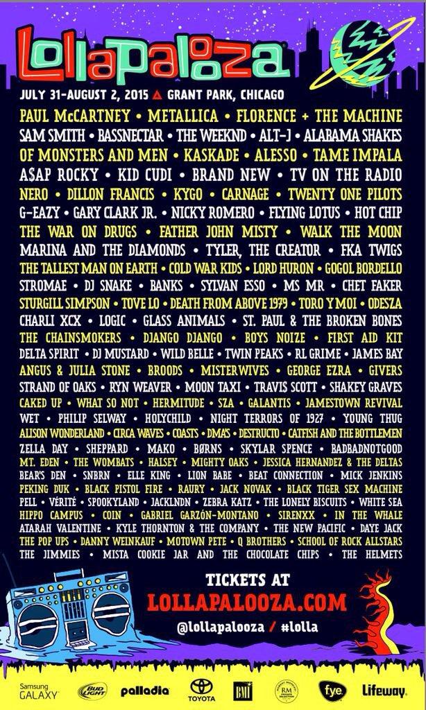 lollapalooza lineup 2015