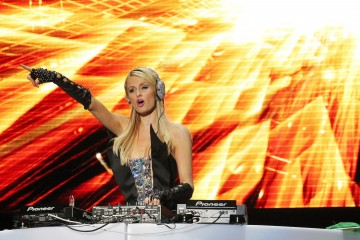 Paris Hilton performs her DJ debut at the Pop Music Festival in Sao Paulo, Brazil in front of thousands of ecstatic fans