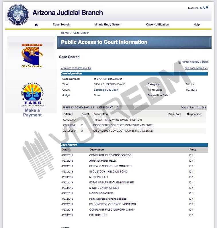 caked up arrest sheet