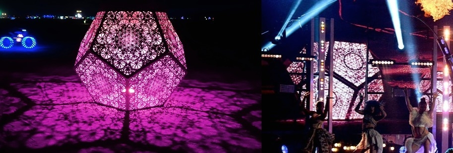 a side-by-side comparison of the HYBYCOZO dodecahedron (L) and Guetta/Minaj's stage sculpture (R)