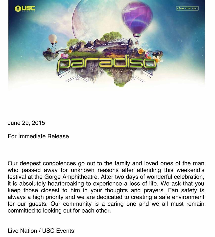 paradiso press release death
