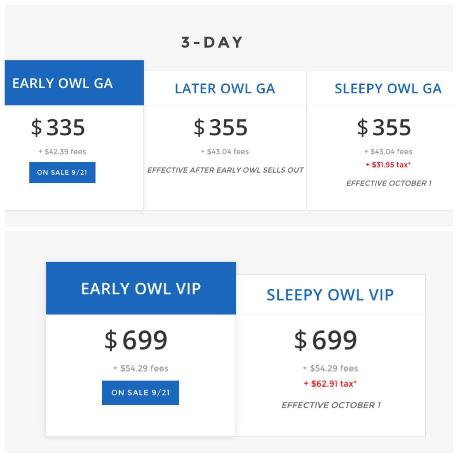EDC Vegas 2016 Prices