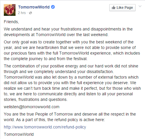 tomorrowworld apology
