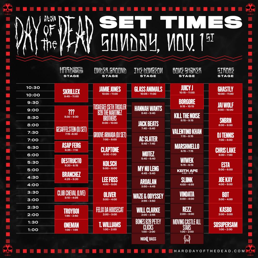 dotd set times day 2 2015