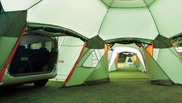 New 16 Person Tent Comes Equipped With Car Port Dining Room