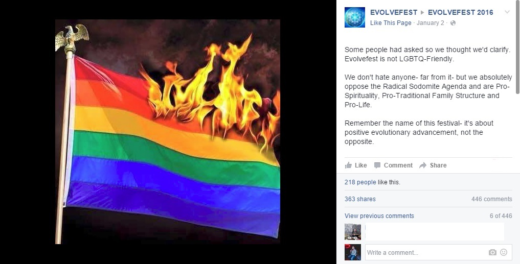 evolvefest hate speech