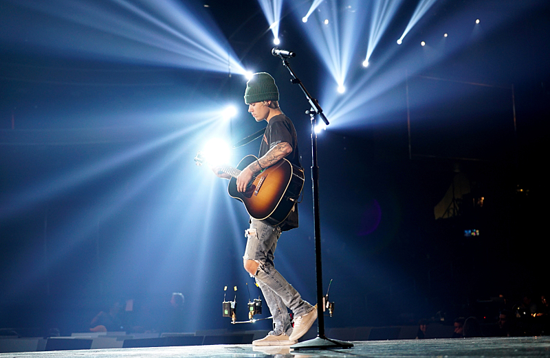 Justin Bieber rehearses for The 58TH ANNUAL GRAMMY AWARDS, to be held on Monday, Feb. 15, 2016 (8:00-11:30 PM, live ET) at STAPLES Center in Los Angeles and broadcast on the CBS Television Network. Photo: Timothy Kuratek/CBS ©2016 CBS Broadcasting, Inc. All Rights Reserved