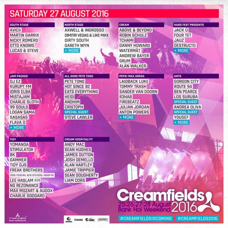 creamfields Saturday 2016