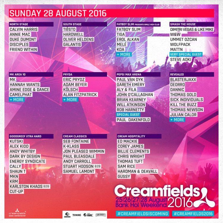 creamfields sunday 2016
