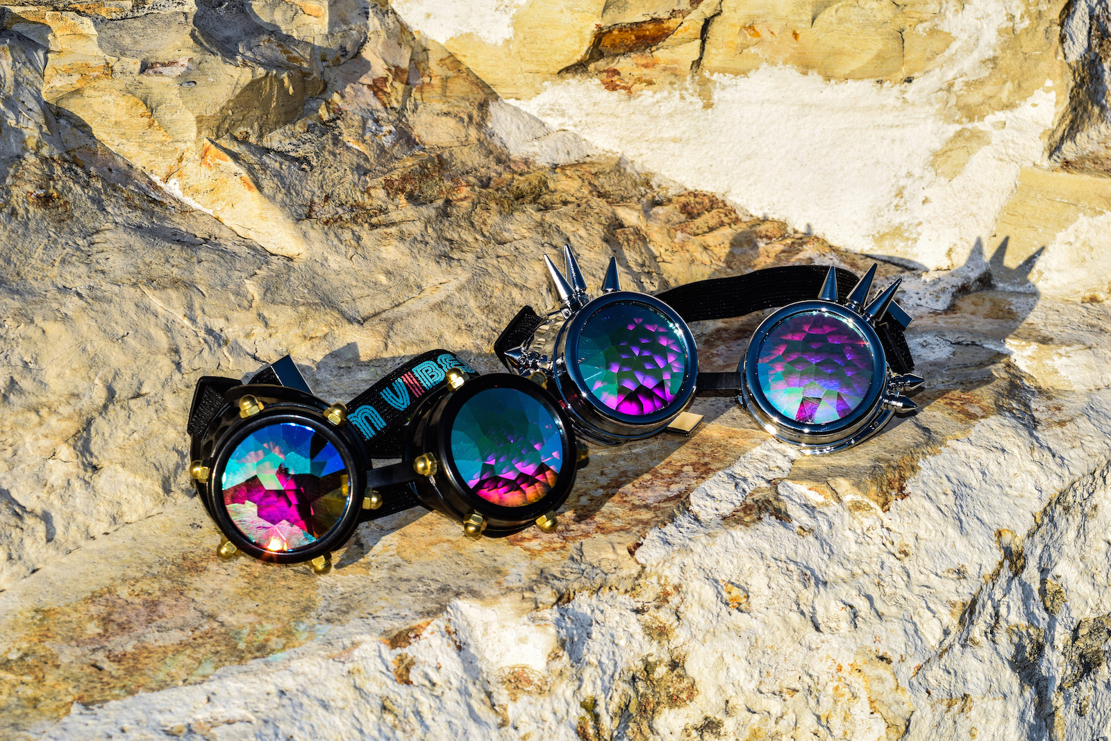 Goggles Balck Studded and Spiked Rock Internet Sized