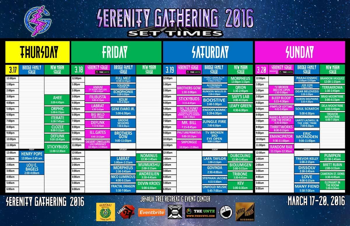 Serenity16 Set Times