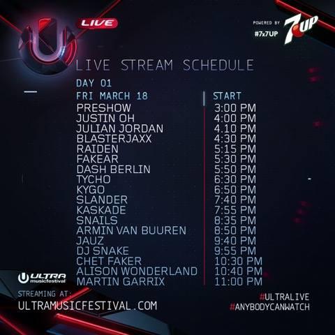 ultra livestream schedule 2016 day 1