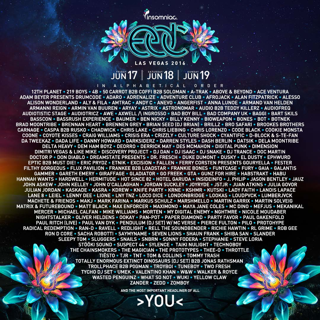 The Complete Edc Las Vegas 2016 Lineup Is Out Your Edm