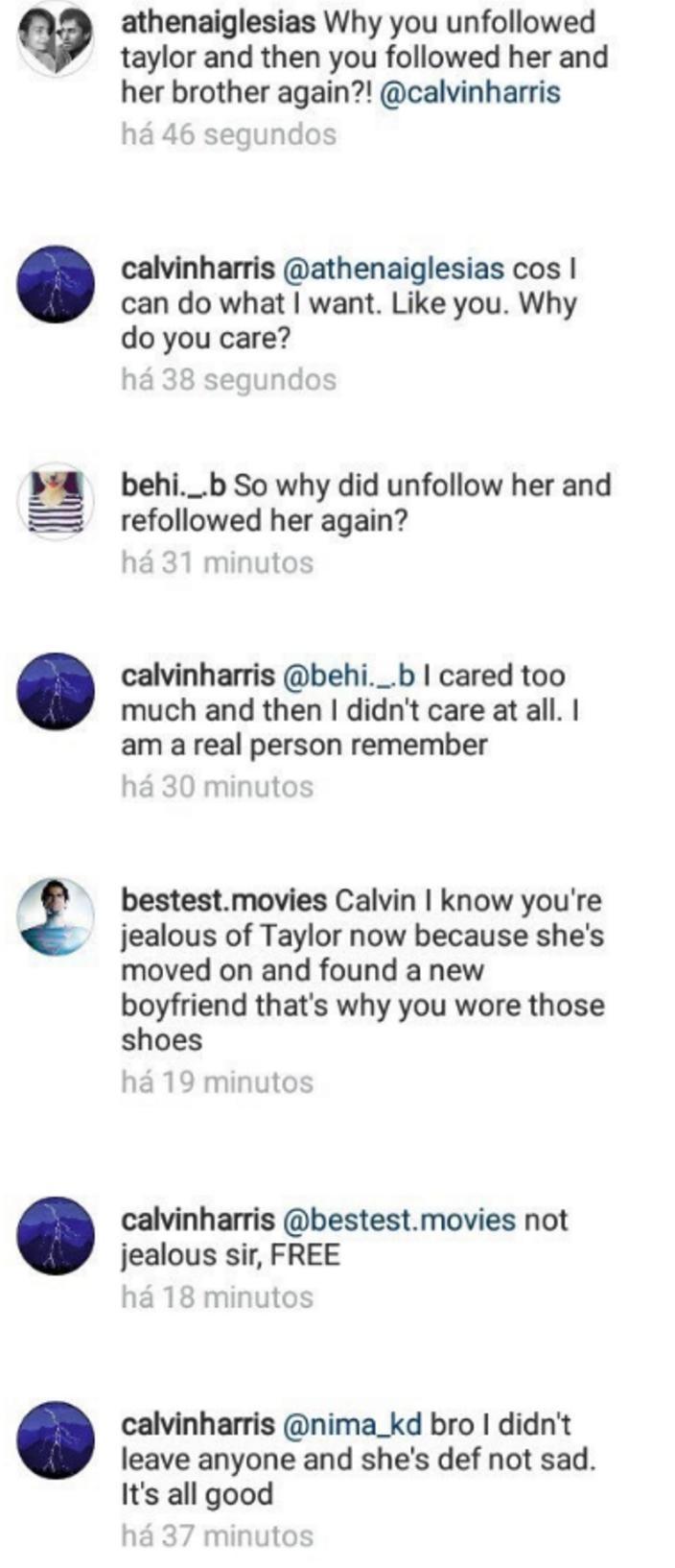 calvin harris instagram responses