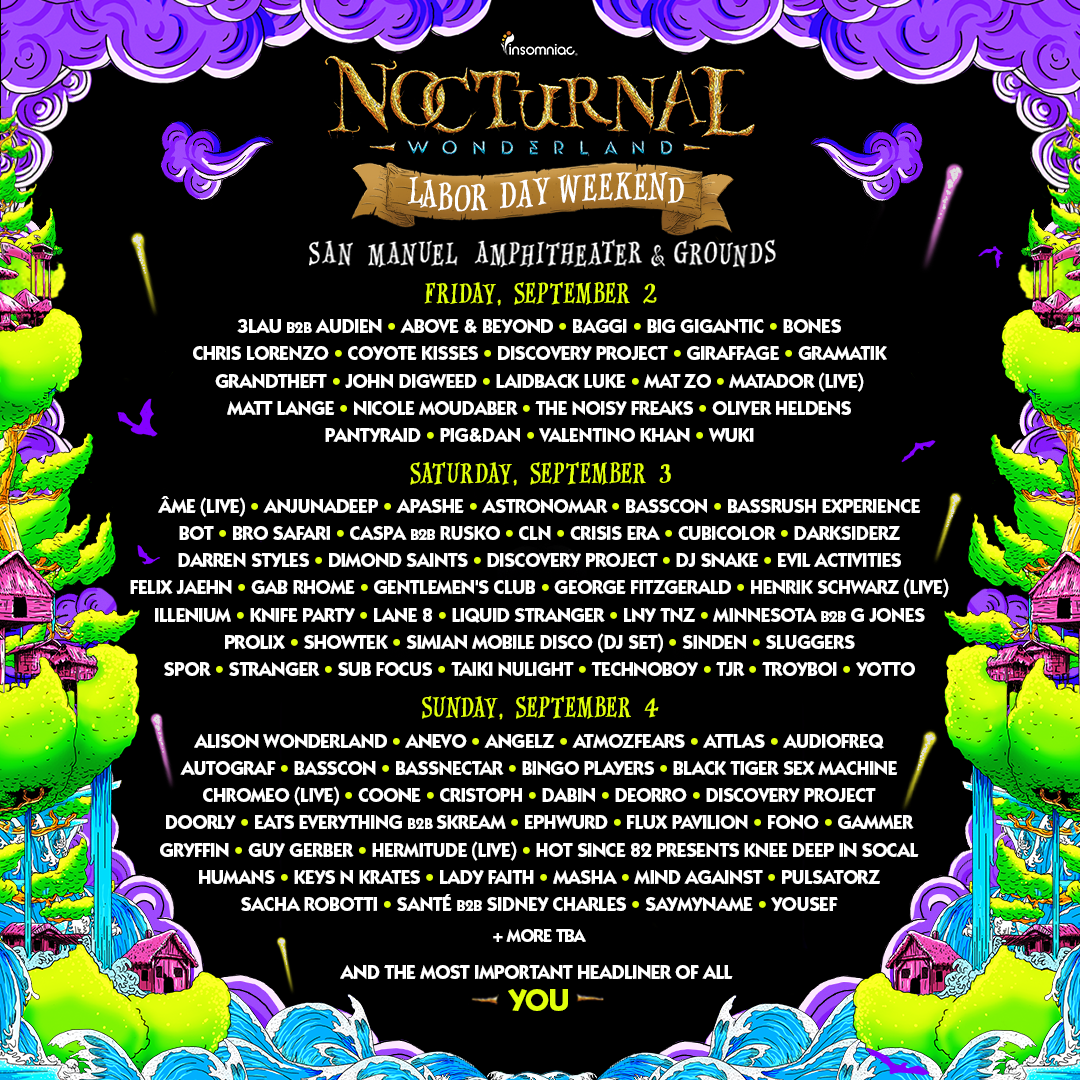 Nocturnal Wonderland 2016_Lineup By Day