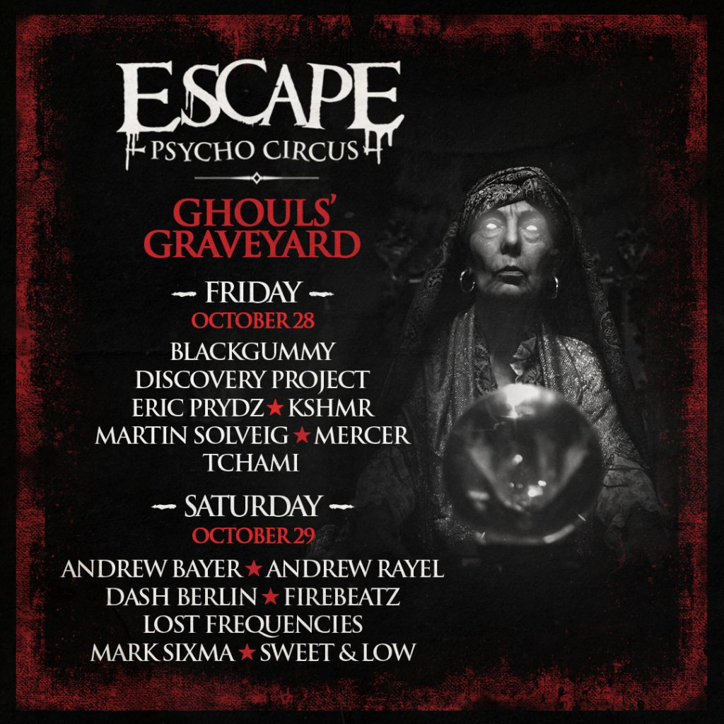 escape psycho circus reveals ghouls graveyard stage lineup for