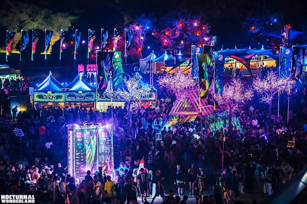 nocturnal wonderland the last massive rave of the summer As with last year's nocturnal wonderland, headliners will have the option of camping with their fellow festivalgoers in expansive campgrounds that features a number of activities such as yoga.