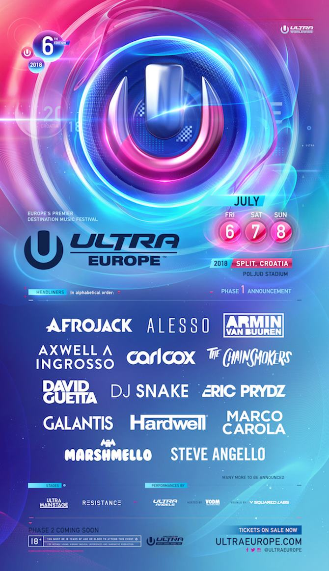 Ultra Europe's Phase 1 Lineup Is Absolutely Stacked