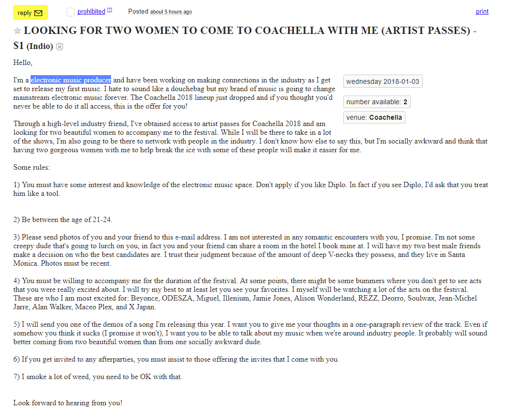 EDM Artist's Women-Seeking Craigslist Ad is Everything Wrong with Coachella