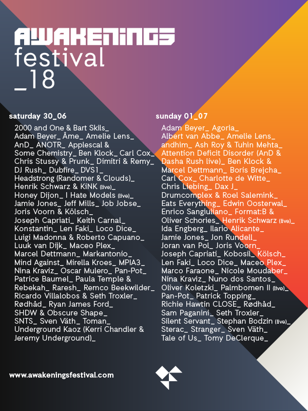 Awakenings Reveals a Massive Lineup for Their 2018 Festival