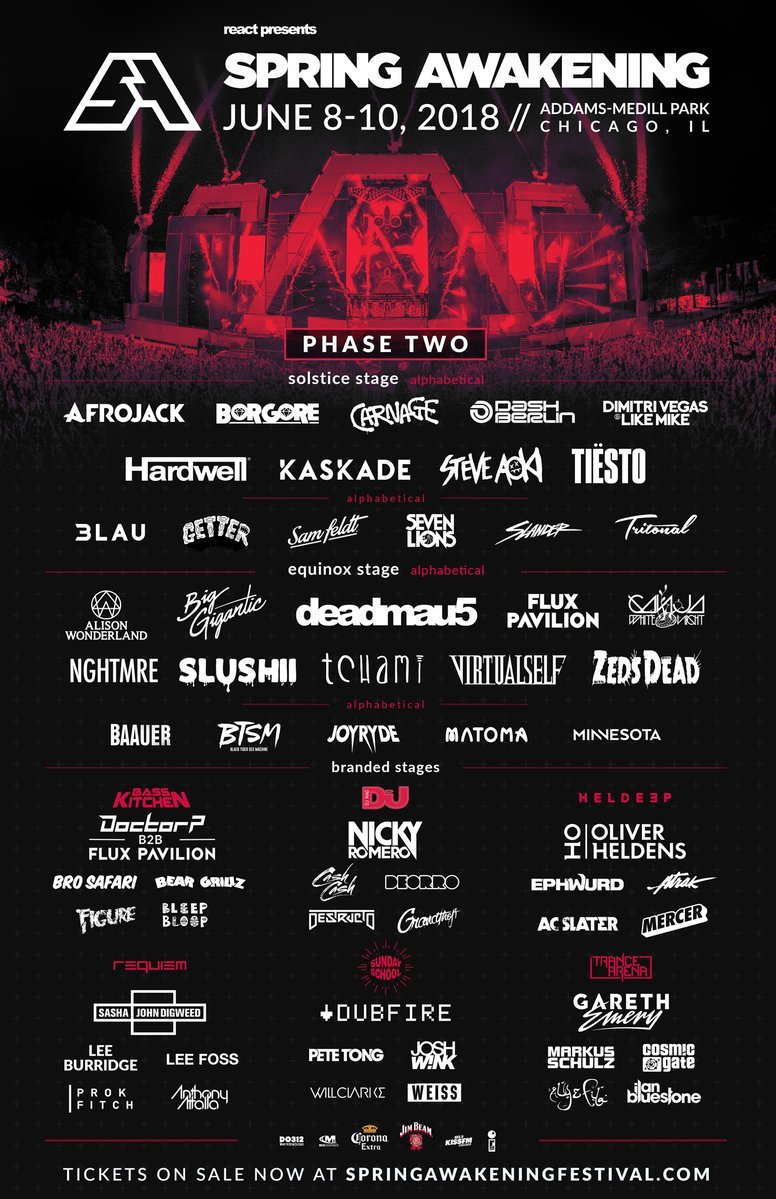 Spring Awakening Officially Drops Full Lineup for 2018 Festival & It's BIG
