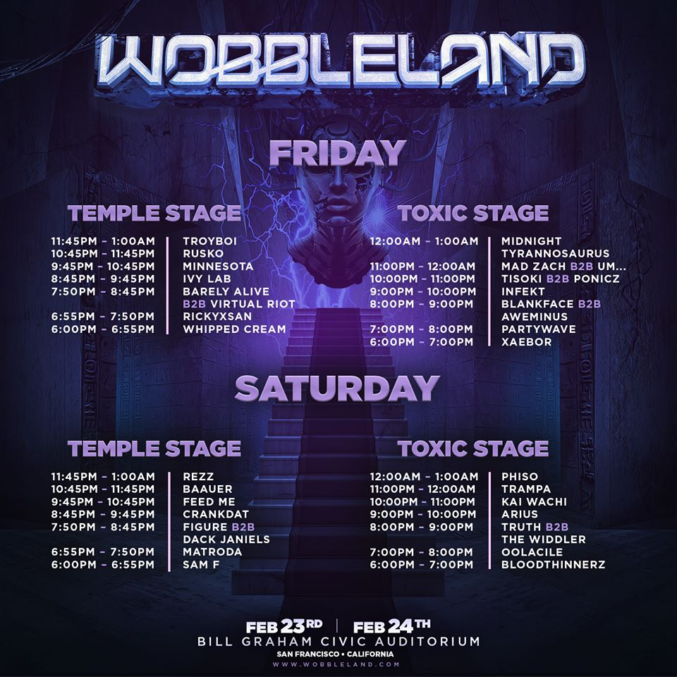 Wobbleland Drops Set Times For 2018