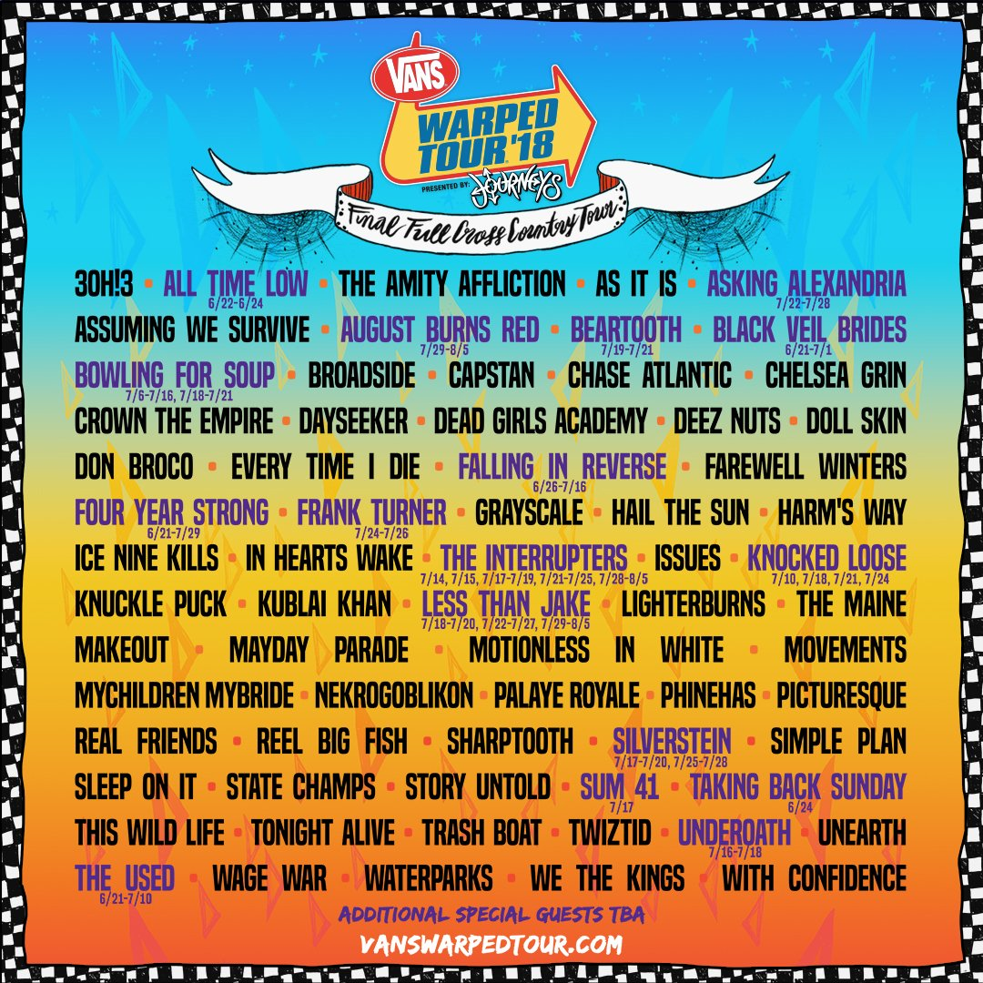 Behold The Final Lineup Of Warped Tour