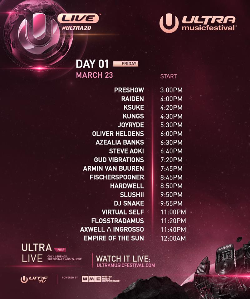 Ultra Releases Day 1 Livestream Schedule