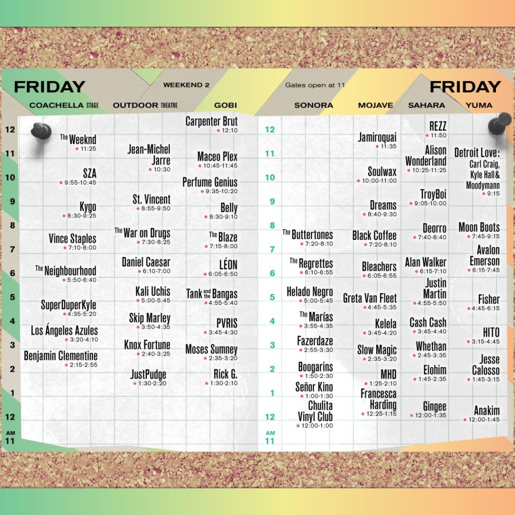 Coachella Weekend 2 Schedule