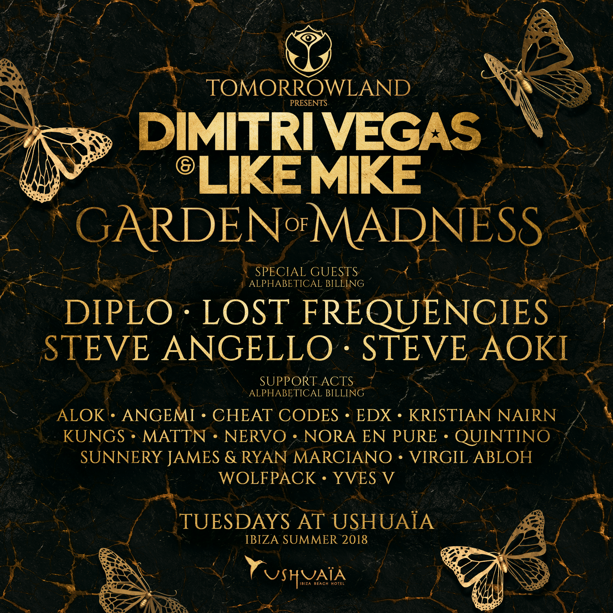 Tomorrowland and Dimitri Vegas & Like Mike announce the lineup for Garden of Madness at Ushuaïa Ibiza
