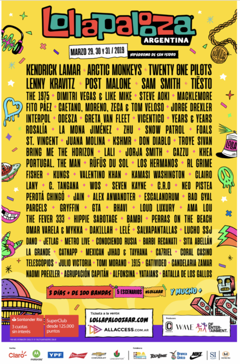 Lollapalooza Announces Lineups For Chile, Argentina, Brasil In 2019