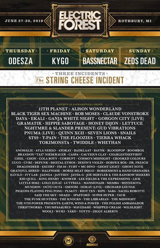 BREAKING: Electric Forest Unleashes Full 2019 Lineup, But It's Nothing Crazy