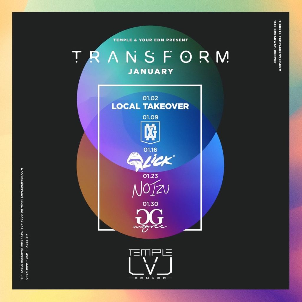 Temple Denver x Your EDM Unleash Stacked 'Transform Thursday' Lineup for January + More