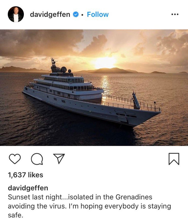 Geffen Records Founder Booed Off Social Media After Flexing His Yacht In Quarantine