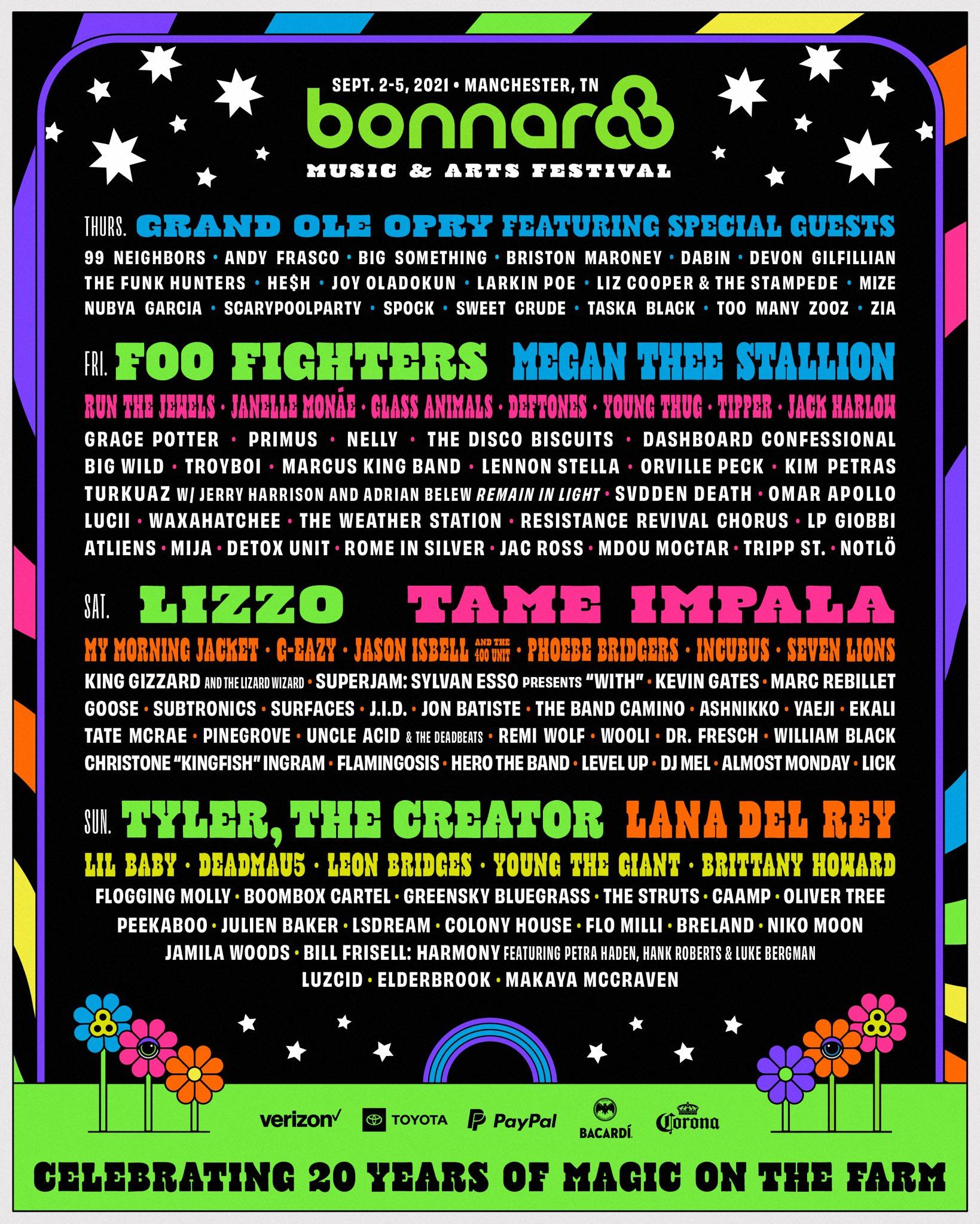 Bonnaroo Music & Arts Festival 2021 lineup