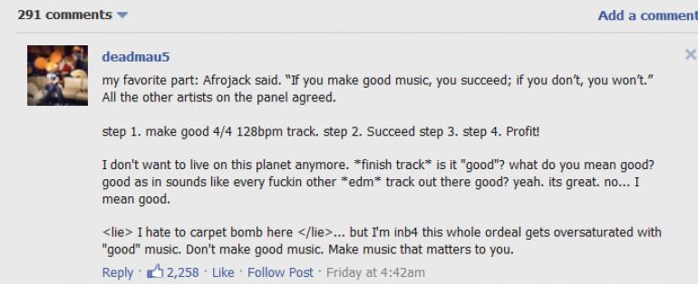 Deadmau5 Fires Off On Not So Unique Future of EDM