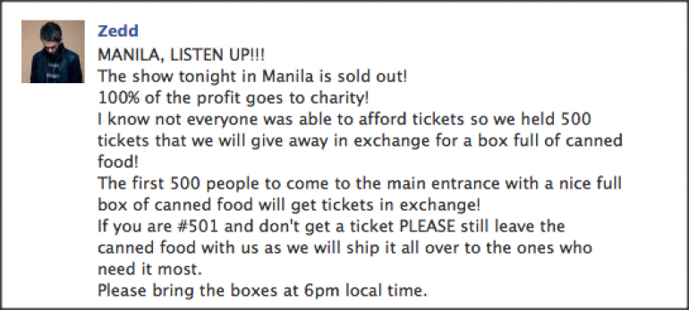 Zedd Displays Benevolence At Sold Out Philippine Show; Offers Tickets At Door For Exchange Of Canned Goods