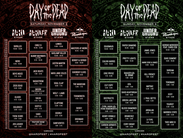 HARD Day Of The Dead Set Times Released