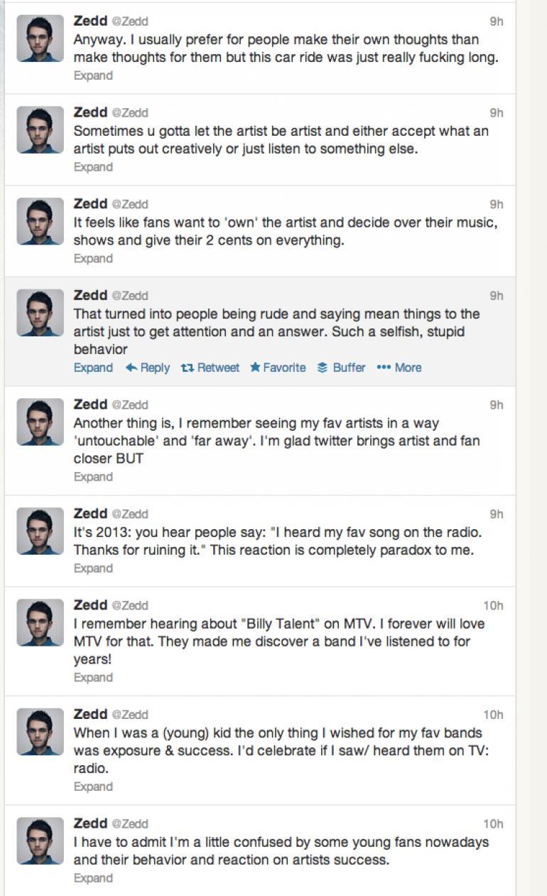 Zedd Criticizes Music Fans